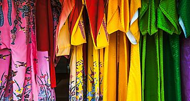 Colorful traditional ryukyu clothing for sale in Ishigaki, Japan