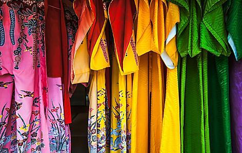 Colorful traditional ryukyu clothing for sale in Ishigaki, Japan