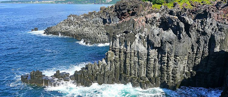 The Daepo Jusangjeolli basalt columnar joints and cliffs on Jeju Island, South Korea