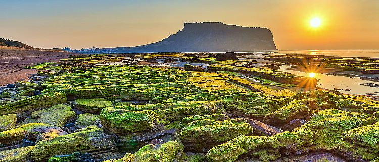 Sunrise at Seongsan Ilchulbong on Jeju Island, South Korea
