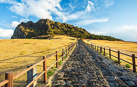 The path to Seongsan Ilchulbong on Jeju Island, South Korea