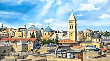 Top view of Jerusalem's Old City, Christian Quarter and the Church of Holy Sepulchre on a sunny bright day