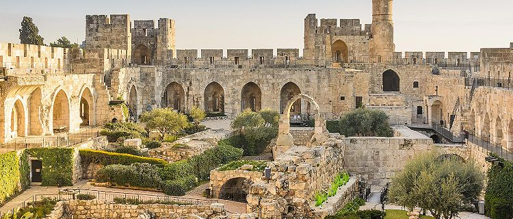 The Tower of David, a historical site with old architecture of stones, in Jerusalem, Israel