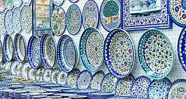 Blue painted ceramic plates sold at souvenir shops at Arab bazaar in Jerusalem