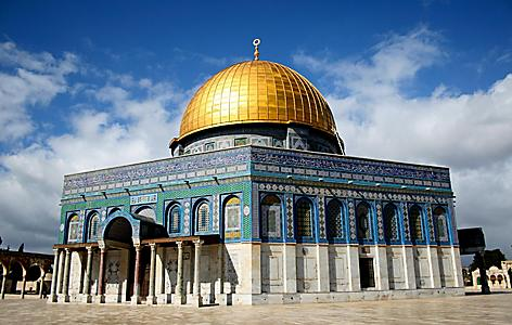 The Dome of the Rock Mosque with a golden dome and mosaic tiles in Jerusalem, Israel