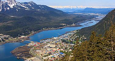 juneau alaska shopping aerial view city mountains juneau