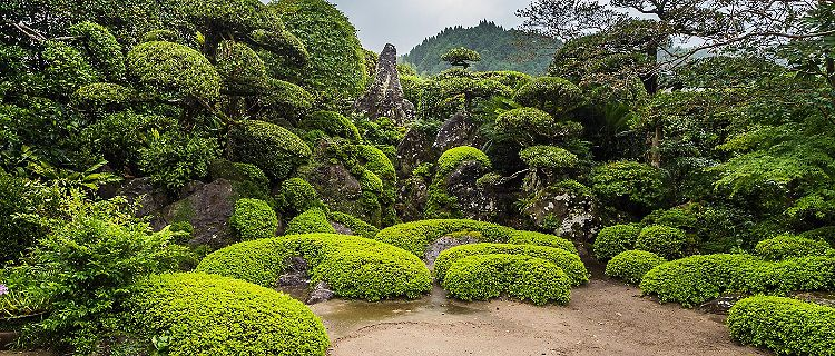 Beautiful Japanese garden in Chiran Samurai district in Kagoshima, Japan