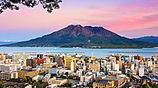 View of the city overlooking the volcano in Kagoshima, Japan