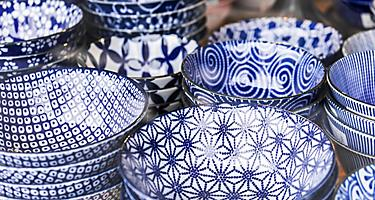 Japanese porcelain blue pottery sold in Kagoshima, Japan