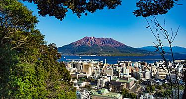 Shiroyama historic lookout overlooking the volcano in Kagoshima, Japan