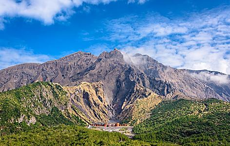 The Sakurajima Volcano Crater in Kagoshima, Japan