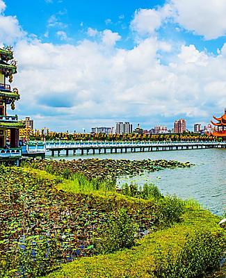 Kaohsiung's famous attraction of the Lotus Pond and Dragon Tower with intricate asian designs