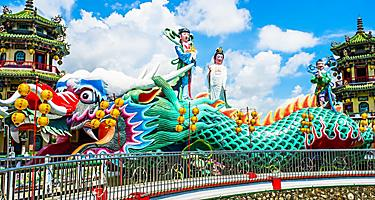 A colorful dragon with two pagodas known as the Dragon Towers in Kaohsiung, Taiwan