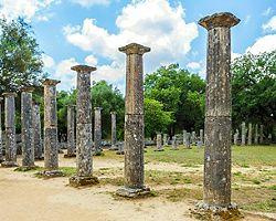 Ruins of pillars in Olympia, Greece