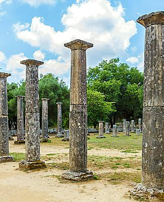 Ruins of pillars in Olympia, Greece