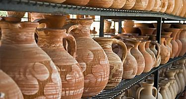 An assortment of clay pots in Greece,