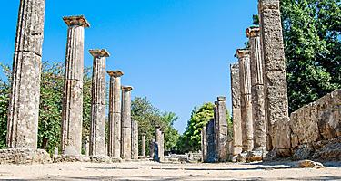 An ancient street in Olympia with columns on both sides