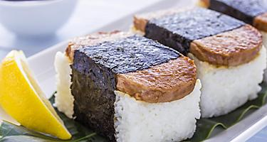 Common Hawaiian food is rice with spam on top wrapped with nori