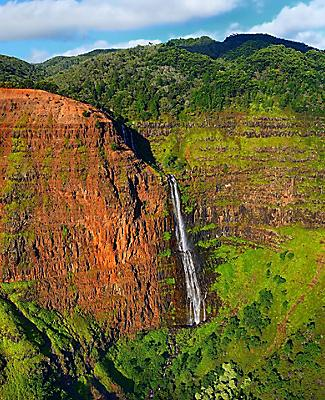 Stunning aerial view into Waimea Canyon, Kauai, Hawaii