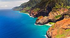 Aerial view of the Honopu Arch at Na Pali coastline, Kauai, Hawaii