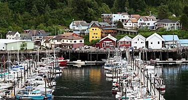 Lots of sail boats docked in the water in a small and quaint town with picturesque log cabins lined up along the water in Ketchikan, Alaska