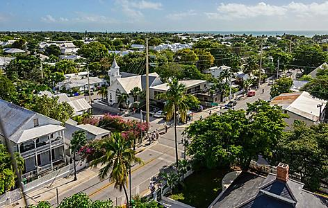 Aerial view of street, in Key West, FLorida