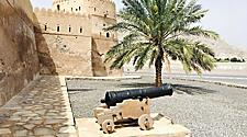 A cannon at the exterior walls of the Khasab Castle in Oman