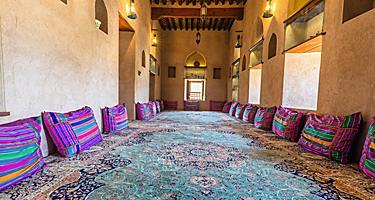 Interior of the Khasab castle in Oman