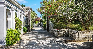 Floral colonial house gate in King's Wharf, Bermuda
