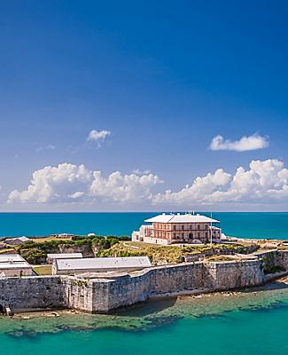 View of the Commissioner's House at the National Museum located in Bermuda's largest fort, the Keep, King's Wharf, Bermuda