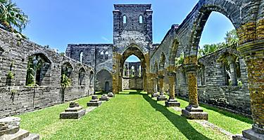 Gothic ruins of the Unfinished Church in King's Wharf, Bermuda. A protected historic monument and part of the St. George's World Heritage Site.