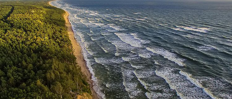 Aerial view of Lithuania's coast on the Baltic Sea
