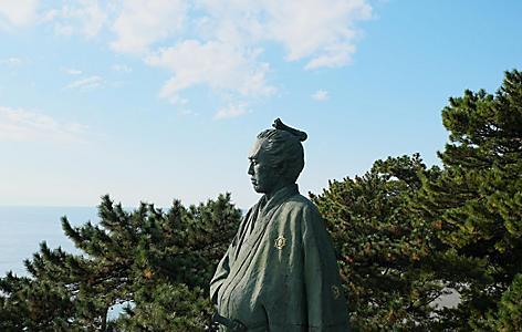 The statue of Sakamoto in the Sakamoto Ryoma Memorial Museum in Kochi, Japan