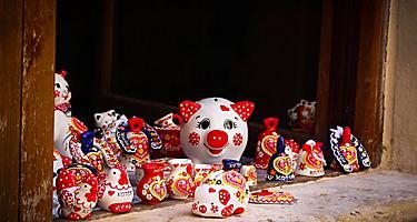 Various ceramic souvenirs for sale in Kotor, Montenegro