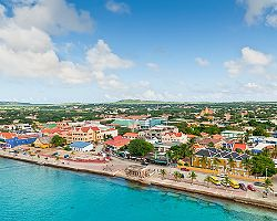 Aerial view of the shoreside architecture in Kralendijk, Bonaire