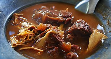 Closeup of goat stew, specialty of Kralendijk