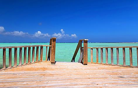 Seaside deck on Sorobon Beach in Kralendijk, Bonaire