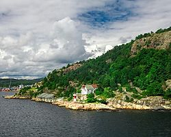 A coastal mountain in Kristiansand, Norway