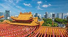 Thean Hou Temple in Kuala Lumpur on Chinese New Year with red lanterns lined up along the roof