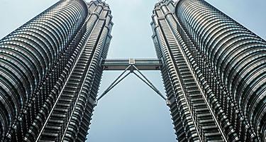 The very tall and modern twin towers in Kuala Lumpur, Malaysia