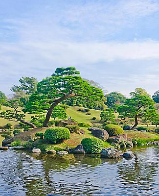 A japanese garden called Suizenji in Kumamoto, Japan