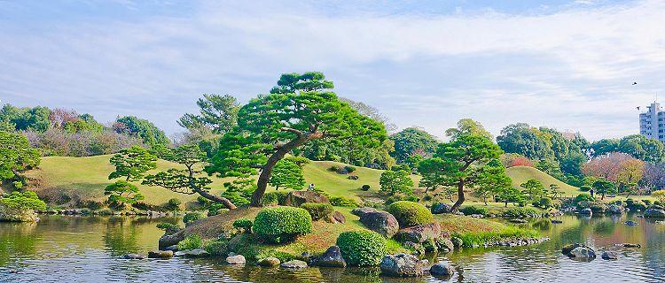 A japanese garden called Suizenji in Kumamoto, Japan