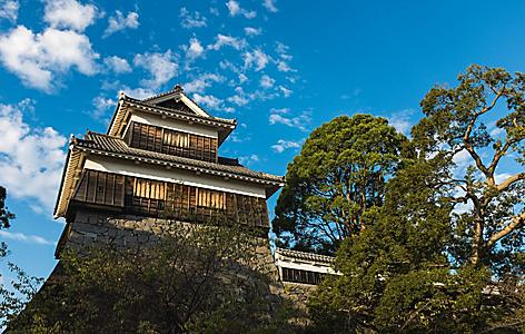 View from below of the castle in Kumamoto, Japan