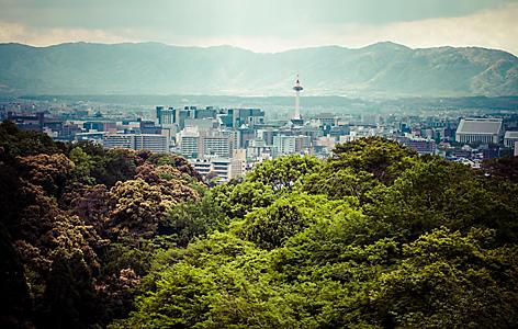 A mountain view of Kyoto's cityscape