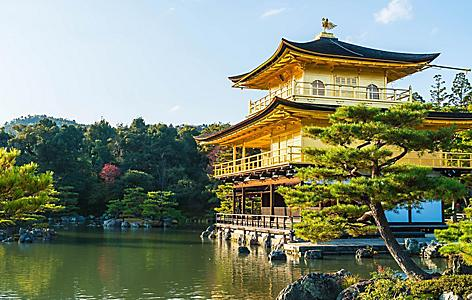The Kinkakuji Temple, also called the Golden Pavilion for its yellow-colored walls atop a pond in Kyoto, Japan