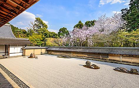 A zen rock garden in the Ryoan Temple in Kyoto, Japan