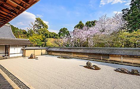 A zen rock garden in the Ryoan Temple in Kyoto, Japan