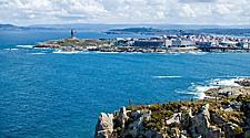 View of the harbor of La Coruna, Spain