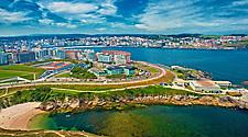 Seasdie city view of La Coruna, Spain
