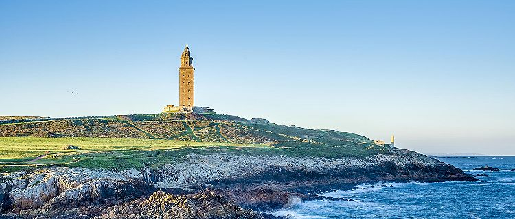 The Tower of Hercules Roman lighthouse in La Coruna, Spain